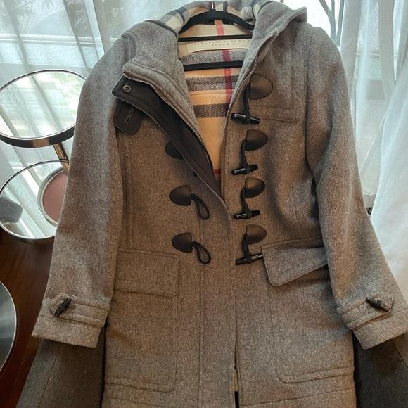 Grey Burberry Brit Wool Duffle Coat US 4